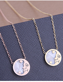 Fashion Gold Color Star And Moon Round Hollow Titanium Steel Necklace