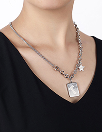 Fashion Silver Stainless Steel Shield Long Necklace