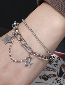 Fashion Silver Stainless Steel Five-pointed Star Bracelet