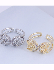 Fashion Silver Copper Inlaid Zirconium Butterfly Open Ring