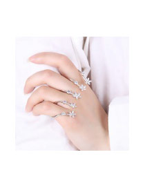 Fashion Silver Color Oval Shape Diamond Decorated Flower Shape Pure Color Ring