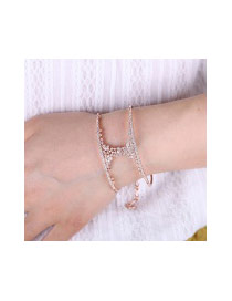 Fashion Rose Gold Diamond Decorated Double Layer Simple Bracelet