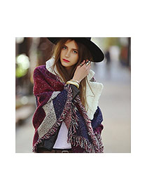 Fashion Gray Color Matching Deckle Edge Design Scarf
