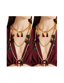 Bohemia Red Short Tassel Decorated Simple Multilayer Necklace