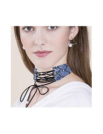 Fashion Blue String Decorated Simple Wide Choker