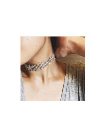 Elegant Silver Color Vertical Bar Diamod Decorated Hollow Out Chocker