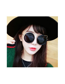 Fashion Silver Color Cat Design Hollow Out Simple Sunglasses