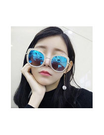 Sweet Black Big Frame Shape Decorated Color Matching Sunglass