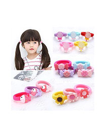 Fashion Pink Apple Shape Decorated Color Matching Design Hair Rope
