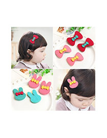 Fashion Plum Red Flower Decorated Color Matching Design Simple Hair Sticky