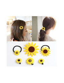 Sweet Yellow Double Sunflower Shape Decorated Hair Clasp