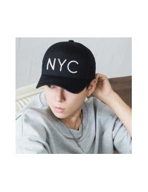 Fashion Black Letter Decorated Pure Color Design Baseball Cap