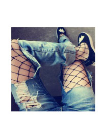 Fashion Black Grid Shape Decorated Pure Color Design Fishnet Stcoking