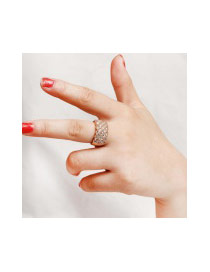 Fashion Silver Color Round Shape Diamond Decorated Pure Color Simple Ring