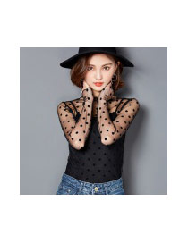 Trendy Black T-shirt With Long Sleeve Of Sexy Style