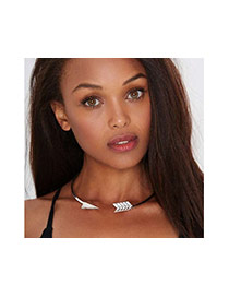 Fashion Silver Color Arrow Design Pure Color Decorated Simple Opening Necklace