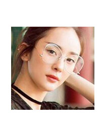 Fashion Black Pure Color Decorated Simple Square Shape Glasses