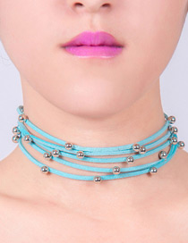 Lovely Blue Metal Round Shape Decorated Simple Multilayer Choker