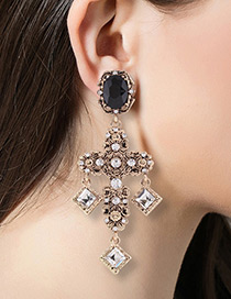 Trendy Antique Gold Sqaure Shape Diamond Decorated Cross Design Earrings