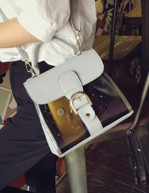 Fashion White Buckle Decorated Transparent Design Square Shape Shoulder Bag
