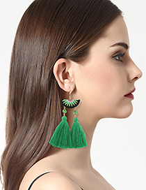 Bohemia Green Tassel Decorated Simple Semicircle Design Simple Earrings