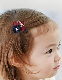 Fashion Navy Flower&letter Decorated Simple Hairpin