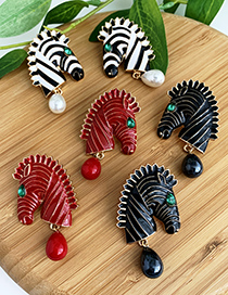 Fashion Red Alloy Studded Zebra