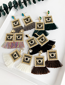 Fashion Brown Alloy-studded Square Tassel Earrings