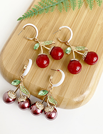 Fashion Red Alloy Diamond Resin Cherry Earrings