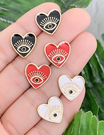 Fashion White Copper Love Eye Earrings