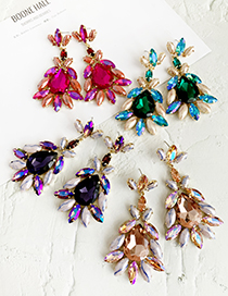 Fashion Rose Red Alloy Diamond Drop Earrings