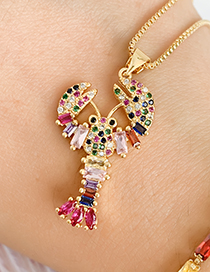 Fashion Gold Copper Inlaid Zircon Lobster Necklace