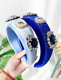 Fashion Royal Blue Gold Velvet Diamond Geometric Headband
