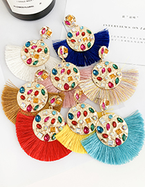 Fashion Red Alloy-encrusted Round Tassel Earrings