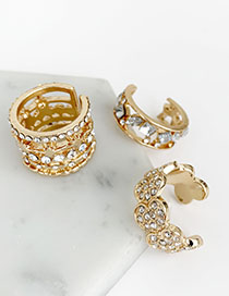 Fashion Gold Alloy Diamond Pierced Ring