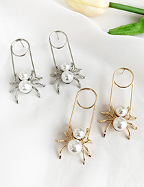 Fashion Gold Alloy Pearl Spider Earrings