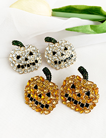 Fashion Yellow Alloy Studded Pumpkin Stud Earrings