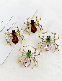 Fashion Red Wine Alloy Studded Spider Stud Earrings