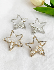 Fashion Silver Alloy Diamond-studded Five-pointed Star Stud Earrings