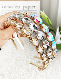 Fashion Ab Color Alloy Oval Drill Headband