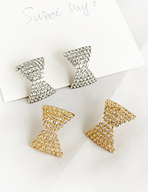 Fashion Silver Alloy Stud Bow Earrings
