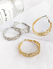 Fashion Silver Alloy Hollow Woven Circle Stud Earrings
