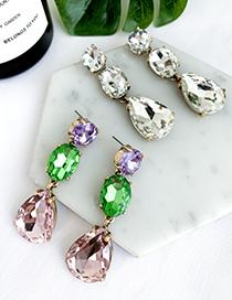 Fashion Color Alloy Stud Earrings In Diamond Shape