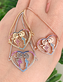 Fashion Rose Gold Cubic Zirconia Hollow Couple Boy Girl Necklace