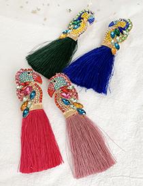 Fashion Royal Blue Alloy Rhinestone Parrot Tassel Stud Earrings