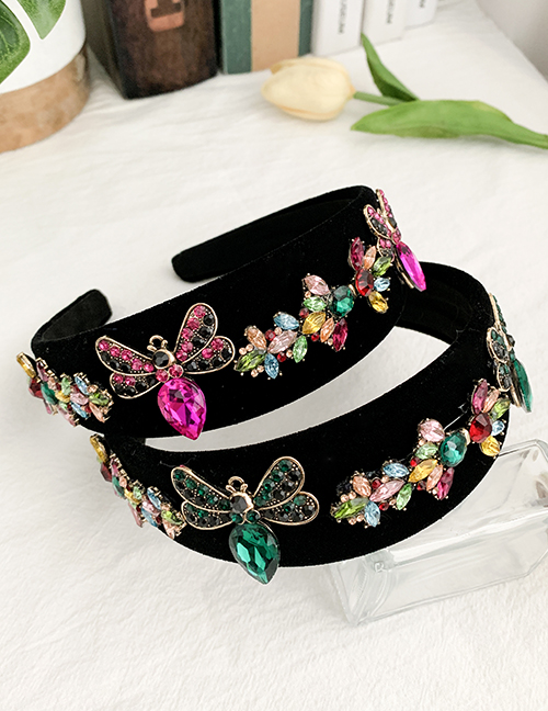 Fashion Red Insect Alloy Diamond Insect Velvet Headband