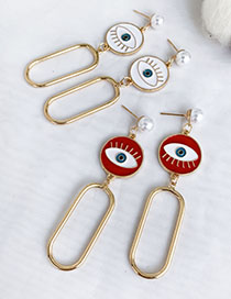 Fashion Red Alloy Dripping Eye Oval Stud Earrings