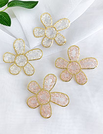 Fashion Pink Alloy Resin Transparent Beads Flower Earrings