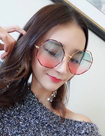 Fashion Gray Polygon Shape Design Hollow Out Sunglasses