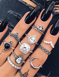 Fashion Silver Color Diamond Decorated Ring (10 Pcs )